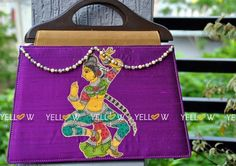 "Purple rawsilk wooden handle bag with Kalamkari patch work  Size - 15"" * 11"" approx."