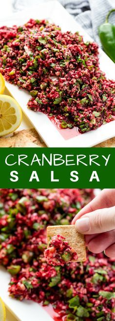 Cranberry Salsa over Cream Cheese Cranberry Salsa is an amazing holiday appetizer that is pretty taste served over cream cheese. Fresh cranberries are minced up with jalapeno into a healthy, fresh, and vibrant salsa. - Everything About Appetizers Holiday Appetizers, Appetizer Dips, Appetizer Recipes, Holiday Recipes, Christmas Recipes, Holiday Foods, Appetizer Party, Chicken Appetizers, Holiday List