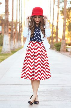 The Chevron Skirt:: Lipstick Modest Outfits, Modest Fashion, Summer Outfits, Chevron Skirt, Red Chevron, Patriotic Outfit, Patriotic Clothing, How To Look Classy, Spring Summer Fashion