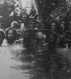Rare photo of Bob & friends in Dunn River Falls, JA jah people