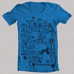 Camiseta NONSENSE azul 1Camiseta NONSENSE W, Diseño propio original de FLIP: signos, símbolos, deportes, animales, acciones, vintage, ángel, bicicleta, sol, cine, figuras, siluetas, clima, señales, acciones.