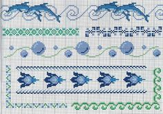 borders Cross stitch theme with dolphins and sea water bubbles
