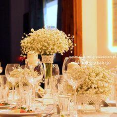 dekoracja stołu weselnego gipsówka