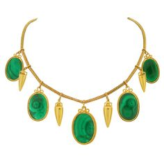 Victorian Malachite and Gold Urn Necklace For Sale at 1stdibs