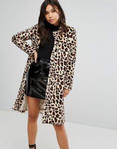 PrettyLittleThing Leopard Print Faux Fur Coat - Brown