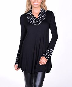 Loving this Black & White Stripe-Contrast Cowl Neck Tunic on #zulily! #zulilyfinds