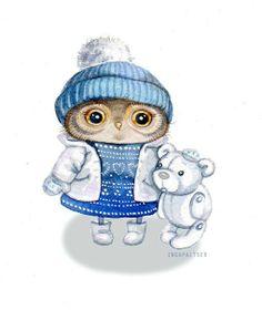 owl and teddy bear by Inga Paltser