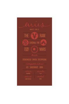ARIES. Zodiac Poster. Detailed Description of by ZodiacZone, $14.00.  Megan.