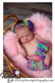 Knit Leg Warmers and Flower Headband Set - - Newborn Photography Prop/Accessories - Merino Wool Yarn