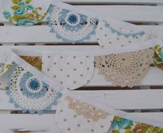 banner...doilies, vintage hankies! Perfect!!