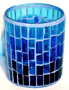 Blue Mosaic Votive Holder
