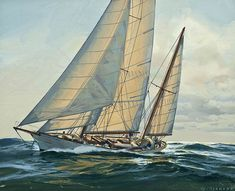 The Paintings of Donald Demers Whitehawk Sailing in the Sun Nautical Painting, Sailboat Painting, Sailing Ships, Sailing Boat, Sail Boats, Ship Paintings, Ocean Paintings, Sailboat Art, Classic Sailing