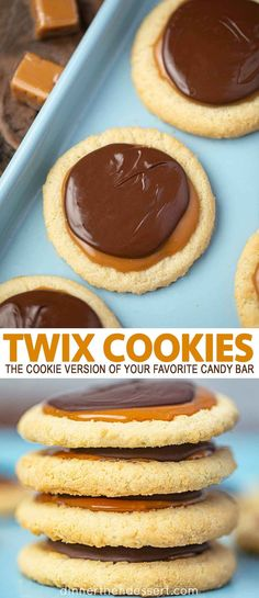 Twix Cookies are just like your favorite candy bar, with vanilla extract, chewy caramel, chocolate chips, and powdered sugar. Soft Sugar Cookies, Sugar Cookie Dough, Yummy Cookies, Cookie Recipes, Dessert Recipes, Recipes Dinner, Pasta Recipes, Crockpot Recipes, Soup Recipes