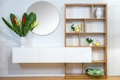 American Oak & Two Pac Lacquer Locally Made/Custom Built Available at Bespoke Furniture Gallery Wall Units, Bespoke Furniture, Shelving, The Unit, American, Gallery, Home Decor, Shelves, Decoration Home