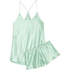 Olivia von Halle Bella silk-satin pajama set (420 BRL) ❤ liked on Polyvore featuring intimates, sleepwear, pajamas, lingerie, dresses, pajamas/sleepwear, mint, lingerie sleepwear, silk satin pajamas and lingerie pajamas