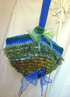HANDMADE CROCHETED BAG  TOTE PURSE BLUE AND GREEN BAG DEPTH 13 BAG LENGTH 19 | Clothing, Shoes & Accessories, Women's Handbags & Bags, Handbags & Purses | eBay!