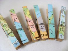 VINTAGE MAP Clothespegs/Clothes Pins Map Design Child's Bedroom/Office Space Card Hanger Indoor Pegs for Cards and Artwork Decoupage Pegs x6 by BigGirlSmallWorld on Etsy