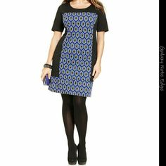 NY COLLECTION PLUS SIZE NWT NY Collection Plus Size Short-Sleeve Printed Shift Dress  Color : Royal Woof  Size : 2X NY Collection Dresses