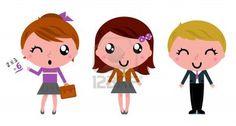 Cute school children. Vector Illustration
