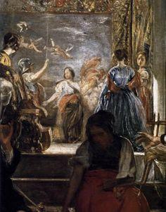 Diego Velázquez, Las Hilanderas ( The Spinners ), oil on canvas, H: 220 cm in) x W: 289 cm in) The Prado, Madrid ( Not. Spanish Painters, Spanish Artists, Diego Velazquez, Baroque Art, 17th Century Art, Old Master, Prado, Caravaggio, Chiaroscuro