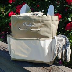 Embroidered Garden Bag makes a fantastic gift for the gardener in your life. #personalizedgifts #mother'sdaygifts