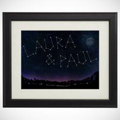 Was könnte romantischer sein, als gemeinsam in den Sternenhimmel zu schauen? Fast nichts. Außer vielleicht, die eigenen Namen in den Sternen zu entdecken. Unser Sternenbild - Ihre Namen auf dem Bild macht's möglich.