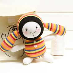 Sock DIY kit baby toy rabbit 8inch 22cm tallb107 by SewSir on Etsy, $20.00