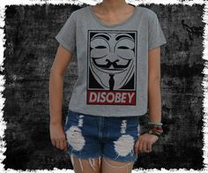 Anonymous Disobey guy Fawkes mask Shirt  women's Crop Top by vezaa