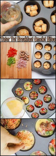 Tater Tot Breakfast Omelet Bites! EASY Recipe!! Check out more pics like this! Visit: http://foodloverz.net/