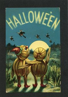 Halloween Post Card 2 JOL Figures Hug While Watching Witches in Night Sky Photo Halloween, Vintage Halloween Cards, Halloween Post, Samhain Halloween, Halloween Items, Halloween Pictures, Holidays Halloween, Halloween Pumpkins, Halloween Crafts