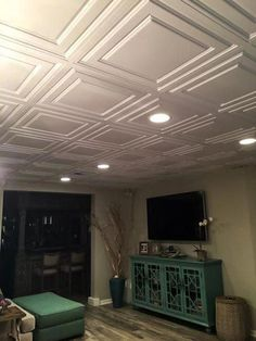 Home Remodeling Ceilings Oxford Ceiling Tile - White Small Basements, Low Ceiling, Ceiling Tiles Basement, Home, Basement Decor, Remodel, Basement Remodeling, Home Remodeling, Renovations