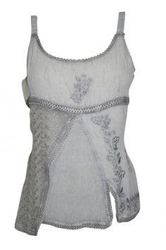 Gray Tank Top Embroidered Strap Blouse Top S #top #tanktop #blouse #bohotop #fashiontop #beachtop #casualtop #giftforher