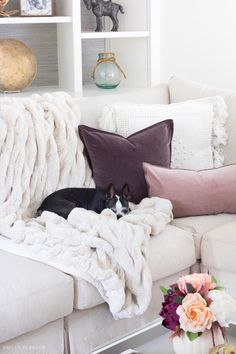 Love these plum velvet pillows mixed with a textured neutral fringed pillow and cozy faux fur throw - perfect for fall! Decor, Driven By Decor, How To Clean Furniture, Autumn Home, Neutral Fall Decor, Home Decor, Pillows, Purple Home Decor, Pillow Mixing