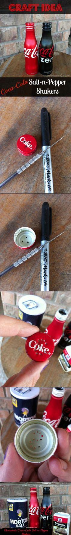Coca-Cola Salt N Pepper Shakers HOMEMADE!!!  Super Cute and Easy too!: