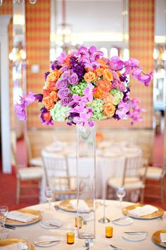 raised floral centerpiece.