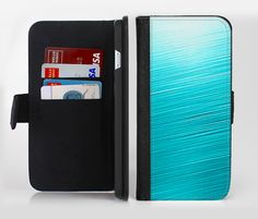 The Light Blue Slanted Streaks Ink-Fuzed Leather Folding Wallet Credit-Card Case for the Apple iPhone 6/6s, 6/6s Plus, 5/5s and 5c from DesignSkinz
