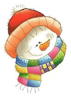 Painted snowman with patchwork scarf Christmas Rock, Christmas Snowman, Christmas Crafts, Vintage Christmas, Christmas Ornaments, Snowman Images, Snowmen Pictures, Christmas Pictures, Snowman Clipart