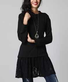 Look what I found on #zulily! Black Ruffle Sweater Cardigan #zulilyfinds