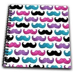 Bold mustache pattern - pink purple blue and black mustaches - girly trendy teen cool fun design - Drawing Book 8 X 8 Inch by 3dRose, http://www.amazon.com/dp/B00CMDXC1C/ref=cm_sw_r_pi_dp_rGnRrb1NH2R5F