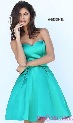Image of short satin fit and flare sweetheart dress Style: SH-50228 Detail Image 3
