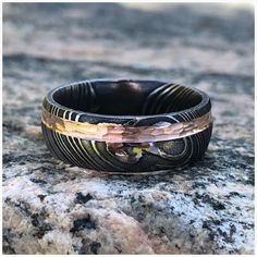 Unique Custom Rings, Wedding Bands and Jewelry USA Made par RenaissanceJewelry Damascus Wedding Band, Damascus Ring, Damascus Steel, Wedding Men, Wedding Bands, Gold Wedding, Wedding Dress, Jewelry Companies, Custom Jewelry
