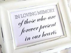 Wedding Sign - In Loving Memory - White or Ivory on Etsy, $3.95