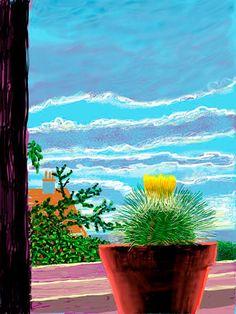 Colourful sky beyond the window pane. By David Hockney on his iPad. David Hockney Ipad, David Hockney Art, David Hockney Paintings, James Rosenquist, Gouache, Tamara, Pop Art Movement, English Artists, Ipad Art