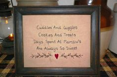 UNFRAMED Primitive Sampler Stitchery Picture New Mamaw Grandparent Present  Country Home Decor Rustic Gift Idea Sampler Stitched wvluckygirl on Etsy, $14.99