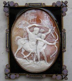 The Education of Achilles | sardonyx shell, enamel, micro mosaic, Italy, ca. 1820-1830