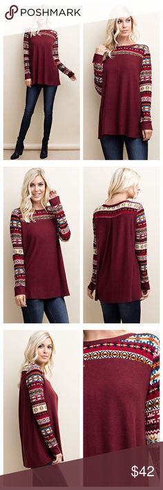 """Holiday Festivities Knit Long Sleeve Get in the Holiday Spirit with this Burgundy Holiday Patterned Knit Long Sleeve! Soft and Cozy with Loose Comfortable Fit! Made in the USA!  Shop here or at www.shopbelovedboutique.com ❤️  Material: 96% Poly 4% Spandex   Measurements: Small: B-18"""" L-29"""" Medium: B-19"""" L-29.5"""" Large: B-20"""" L-30"""" Tops Tees - Long Sleeve"""