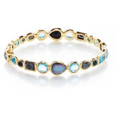 Ippolita 18K Rock Candy Mixed Hinge Bracelet in Midnight Rain (338.580 RUB) ❤ liked on Polyvore featuring jewelry, bracelets, bangles/bracelets, light green, bangle jewelry, 18 karat gold jewelry, bracelets bangle, polished rock jewelry and rock jewelry
