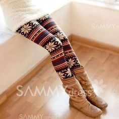 $7.54 Korea Fashion Stylish Snowflake Patterens Colorful Stripes Leggings