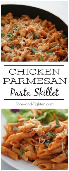 Chicken Parmesan Pasta Skillet mit Barilla ProteinPLUS ™ Pasta - The Best Healthy Recipes - Barilla Recipes, Yummy Pasta Recipes, Good Healthy Recipes, Healthy Snacks, Chicken Recipes, Healthy Eating, Skillet Recipes, Lunch Recipes, Delicious Recipes