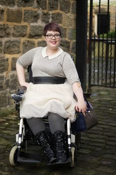 Wheelchair Fashion: Winter Tulle Jumper, tulle, biker boots & the cutest belt ever! >>> See it. Believe it. Do it. Watch thousands of SCI videos at SPINALpedia.com